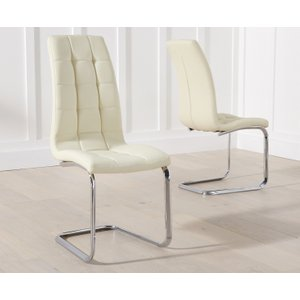 Oak Furniture Superstore Lorin Cream Faux Leather Dining Chairs LORINCREAM 16363 2 CHAIRS, Cream