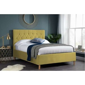 Oak Furniture Superstore Lox 120cm Small Double Ottoman Bed In Mustard Loxotb4mus, Yellow