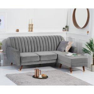 Oak Furniture Superstore Lucia Grey Velvet Sofa Bed PT32980, Grey
