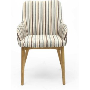 Oak Furniture Superstore Ludlow Duck Egg Blue Stripe Fabric Dining Chairs SID DCF STRP DEB SINGLE, Blue