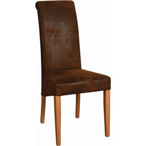 Oak Furniture Superstore Lulworth Light Oak Bison Fabric Dining Chair With Light Leg Fab100, Brown