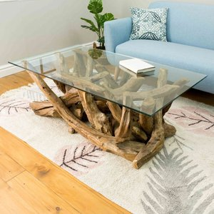 Oak Furniture Superstore Lyre Branchwood Teak Rectangular Coffee Table With Glass Top Law45, Brown