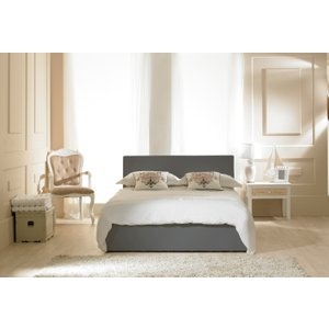 Oak Furniture Superstore Madrid Grey Faux Leather Ottoman King Size Bed Mdgy50