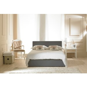 Oak Furniture Superstore Madrid Grey Faux Leather Ottoman Small Double Bed Mdgy40, Grey