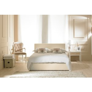 Oak Furniture Superstore Madrid Ivory Faux Leather Ottoman Double Bed MDIV46, Ivory