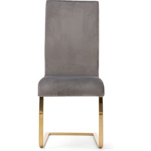Oak Furniture Superstore Malaga Grey Velvet Gold Leg Dining Chairs - Grey, 2 Chairs Pt30661, Grey