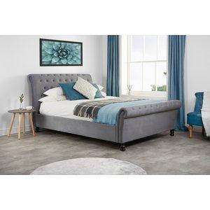 Oak Furniture Superstore Missouri King Size Grey Velvet Bed Opub5grv, Grey
