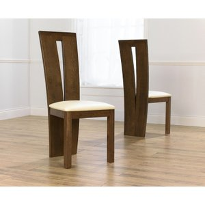 Oak Furniture Superstore Montreal Dark Solid Oak And Cream Dining Chairs MONT DARK CREAM CHAIR 274 2 CHAIRS, Oak and Cream