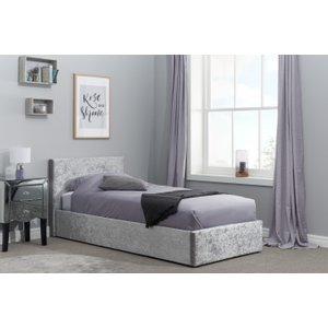 Oak Furniture Superstore Natalia Steel Velvet Single Ottoman Bed Beot3stev2, Grey