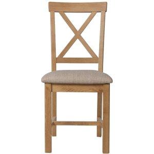 Oak Furniture Superstore Noah Oak Cross Back Dining Chair With Fabric Seats - Oak, 2 Chairs Noa Chf, Oak