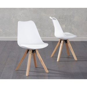 Oak Furniture Superstore Oscar White Faux Leather Square Leg Dining Chairs OSC WHITE FAUX SQUARE 7386 24650, White