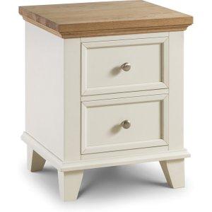 Oak Furniture Superstore Oskar Oak And White 2 Drawer Bedside Chest POR001, Oak and White