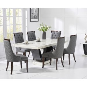 Oak Furniture Superstore Raphael 170cm White And Black Pedestal Marble Dining Table With Angelica Chairs RAPH 170 WHITE ANG 17009 4 CHAIRS, White