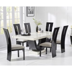 Oak Furniture Superstore Raphael 170cm White And Black Pedestal Marble Dining Table With Verbier Chairs RAPH 170 WHITE VERB 619 4 CHAIRS, White