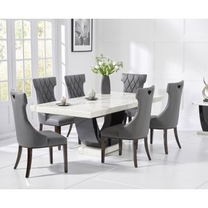 Oak Furniture Superstore Raphael 200cm White And Black Pedestal Marble Dining Table With Freya Chairs RAPH 200 WHITE FREY 17012 6 CHAIRS, White
