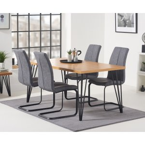 Oak Furniture Superstore Retiro 160cm Dining Table With Liza Antique Hoop Leg Dining Chairs - Grey, 4 Chairs Pt36202, Grey