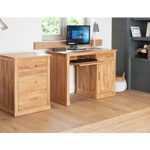 Oak Furniture Superstore Rhone Solid Oak Single Pedestal Computer Desk Cor06b, Oak