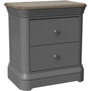 Oak Furniture Superstore Rocky 2 Drawer Bedside In Slate Grey Peb001, Dark Grey
