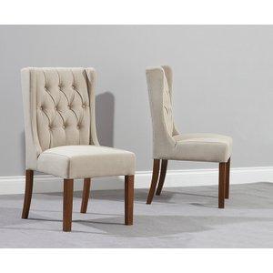 Oak Furniture Superstore Safia Beige Fabric Dark Oak Leg Dining Chairs SAFIA DARK BEIGE 1059 2 CHAIRS, Beige