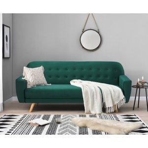Oak Furniture Superstore Scala Green Velvet 3 Seater Fold Down Sofa Bed Pt23099, Green