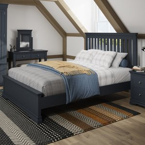 Oak Furniture Superstore Simone Dark Grey King Size Bed Sim 50 Mg, Dark Grey