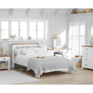 Oak Furniture Superstore Somerset Oak And White King Size Bed Pt34754, Oak and White