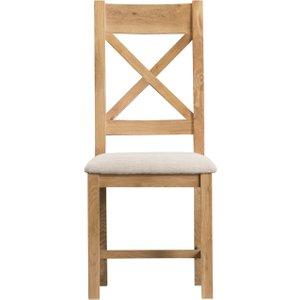 Oak Furniture Superstore Sydney Upholstered Cross Back Dining Chairs Syd Cbcf Single, Oak