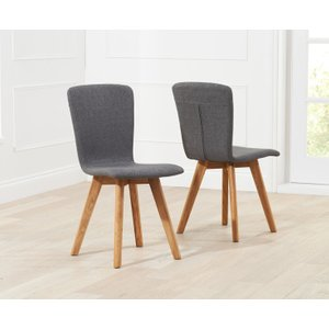 Oak Furniture Superstore Tivoli Retro Fabric Grey Dining Chairs TIV FABRIC GREY SINGLE, Grey