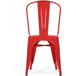 Oak Furniture Superstore Tolix Industrial Style Red Dining Chairs - Red, 2 Chairs PT29953, Red