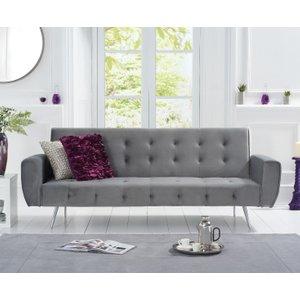 Oak Furniture Superstore Vanessa Grey Velvet Sofa Bed PT32977, Grey