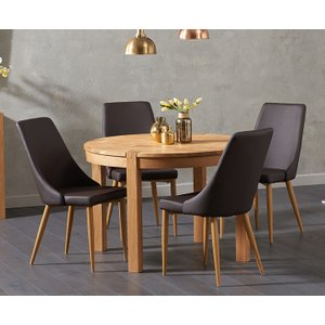 Oak Furniture Superstore Verona 110cm Oak Round Dining Table With Ashford Faux Leather Chairs VER 110 ASH FAUX 7736 25906, Oak