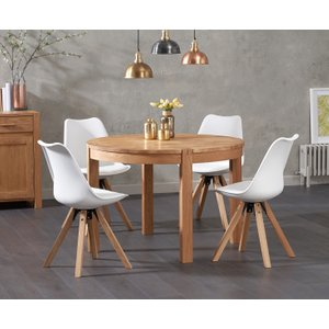 Oak Furniture Superstore Verona 110cm Oak Round Dining Table With Oscar Faux Leather Square Leg Chairs VER 110 OSC FAUX SQUARE 7746 25939, Oak