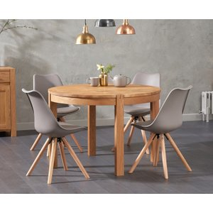 Oak Furniture Superstore Verona 110cm Oak Round Dining Table With Oscar Faux Leather Round Leg Chairs VER 110 OSC FAUX ROUND 7750 25946, Oak