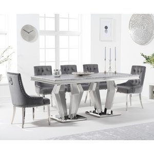 Oak Furniture Superstore Viscount 180cm Marble Dining Table With Talia Velvet Chairs - Blue, 6 Chairs Pt34035, Blue