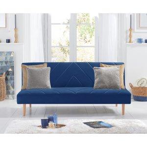 Oak Furniture Superstore Waldorf Blue Velvet 3 Seater Fold Down Sofa Bed Pt23086, Blue