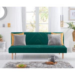 Oak Furniture Superstore Waldorf Green Velvet 3 Seater Fold Down Sofa Bed Pt23087, Green