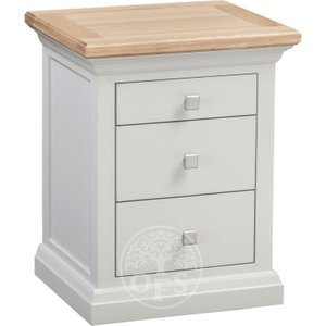Oak Furniture Superstore Wedmore Oak And Grey Painted 3 Drawer Bedside Chest Cot3bs, Oak and Grey
