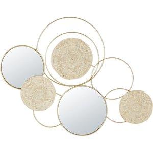 Maisons Du Monde 115x84cm Plant Fibre, Mirror And Gold Metal Wall Art 3611872102043 , Beige