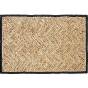 Maisons Du Monde 140x200cm Charcoal Grey Cotton And Beige Woven Jute Rug 3611872100926 Beds, Beige