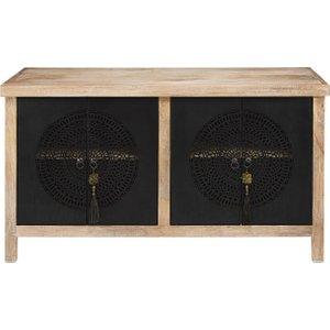Maisons Du Monde 4-door Sideboard In Solid Mango Wood And Black Openwork Metal Menara 3611871664450 Storage