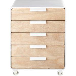 Maisons Du Monde 5-drawer End Table On Wheels 3611871764648 Tables, White