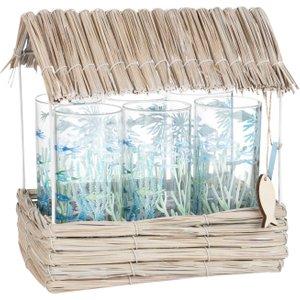 Maisons Du Monde 6 Glass Mugs With Plant Fibre Gazebo 3611871818488 Tables, Blue