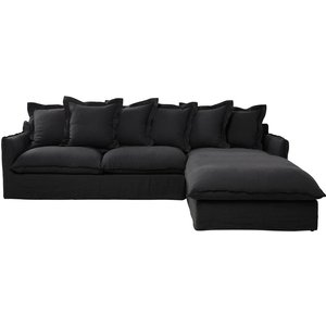 Maisons Du Monde 7 Seater Washed Linen Corner Sofa In Charcoal Grey Barcelone 3611871805167 Sofas, Grey