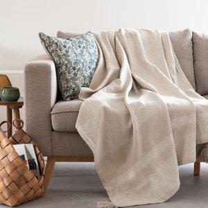 Maisons Du Monde Beige And Ecru Cotton Throw With Tassels 160x210cm 3611872114060 Home Textiles, Beige