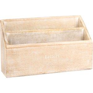 Maisons Du Monde Beige Mango Wood Letter Rack With White Lettering 3611872042011
