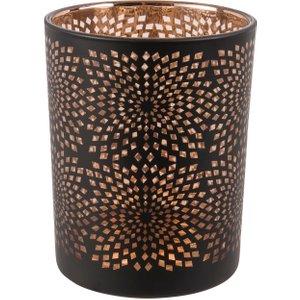 Maisons Du Monde Black And Copper Openwork Glass Tea Light Holder 3611871730797, Black