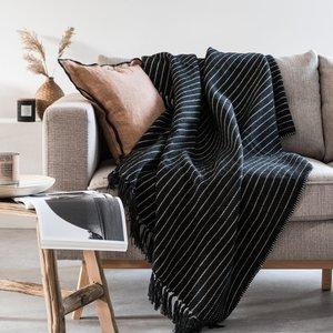 Maisons Du Monde Black And Ecru Cotton Throw 130x170cm 3611872121259 Home Textiles, White