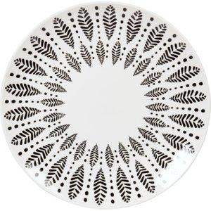 Maisons Du Monde Black And White Printed Porcelain Dinner Plate 3611872127039 , White