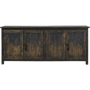 Maisons Du Monde Black Recycled Pine 4-door Sideboard Sabi 3611871875023