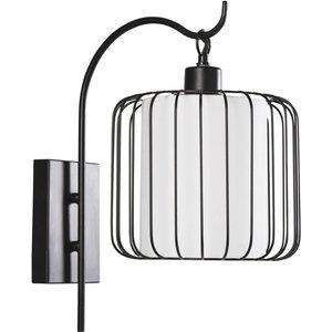 Maisons Du Monde Black Wire And White Canvas Wall Light 3611872025991, Black